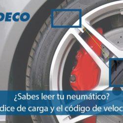 Índice de carga y código de velocidad del neumático